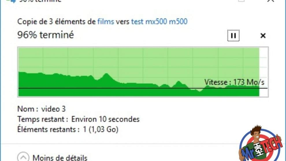 Transfert de 3 vidéos (29,5 Go) du MX500 vers M550