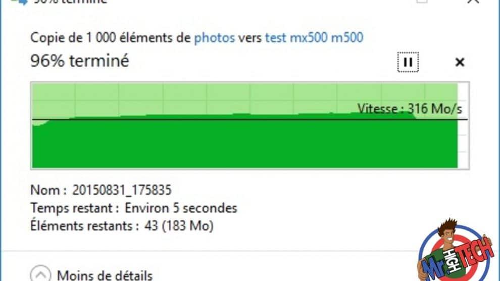 Transfert de 1000 photos du MX500 vers M550